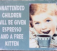 espresso and kitten sign by Steven Ralser