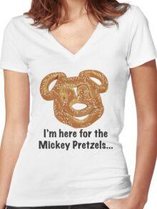 Mickey Pretzel Women's Fitted V-Neck T-Shirt