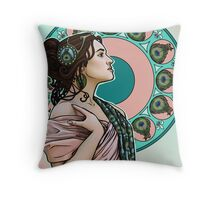 Lady Peahen Throw Pillow