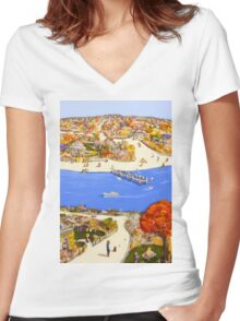Summer jetty Women's Fitted V-Neck T-Shirt