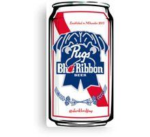 Pugs Blue Ribbon Canvas Print