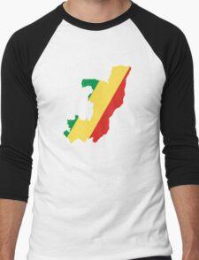 Flag Map of the Republic of the Congo  Men's Baseball ¾ T-Shirt