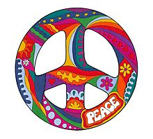 Psychedelic Peace Symbol Photographic Print