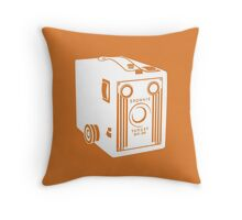 Brownie Camera - White/Orange Throw Pillow