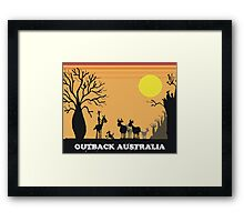 Aussie outback with boab tree and stockman design Framed Print