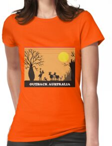 Aussie outback with boab tree and stockman design Womens Fitted T-Shirt