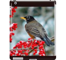 Robin Perched on Snowy Winterberry iPad Case/Skin