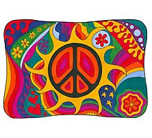 Psychedelic Flaming Peace Photographic Print