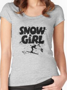 Snowgirl Ski Retro Women's Fitted Scoop T-Shirt