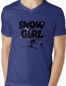 Snowgirl Ski Retro Mens V-Neck T-Shirt