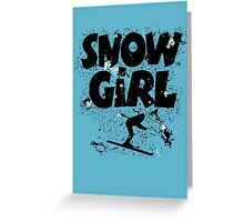 Snowgirl Ski Retro Greeting Card