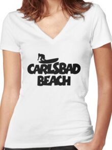Carlsbad Beach Surfing Women's Fitted V-Neck T-Shirt