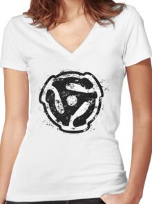 45 rpm Record Adaptor DJ Design Women's Fitted V-Neck T-Shirt