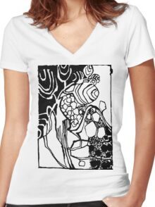 Ornament black white  leaves. Women's Fitted V-Neck T-Shirt
