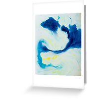 Watercolour abstract Swirl 1, blue,yellow,white Greeting Card