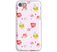 Cute pink background with watercolor cupcakes.   iPhone Case/Skin