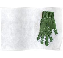Glove Laying in Snow Poster