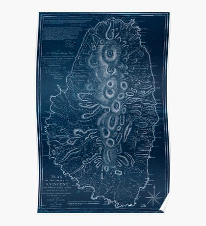 American Revolutionary War Era Maps 1750-1786 788 Plan of the island of St Vincent laid down by actual survey under the direction of the Honorable the Inverted Poster