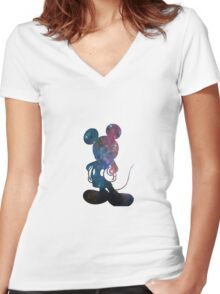 galaxy mickey Women's Fitted V-Neck T-Shirt