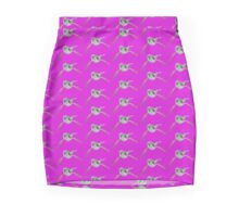 Humpback whale with wings (pink&light green) Mini Skirt