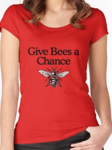 Give Bees A Chance Beekeeper Quote Design Women's Fitted Scoop T-Shirt
