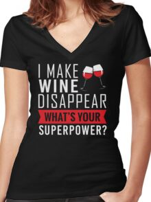 Wine Disappear Women's Fitted V-Neck T-Shirt