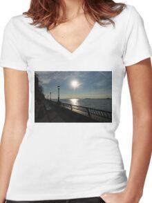 Brilliant Sunny Walk on the Esplanade - Hudson River, Manhattan, New York City, USA Women's Fitted V-Neck T-Shirt