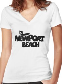 Newport Beach Surfing Women's Fitted V-Neck T-Shirt