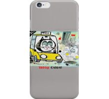 Cartoon of tabby cat driving New York taxi iPhone Case/Skin