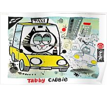 Cartoon of tabby cat driving New York taxi Poster