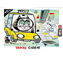 Cartoon of tabby cat driving New York taxi Photographic Print
