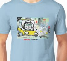 Cartoon of tabby cat driving New York taxi Unisex T-Shirt