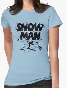 Snowman Ski Retro Womens Fitted T-Shirt