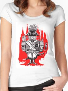 Imperial Clock surreal pen ink black white and red drawing Women's Fitted Scoop T-Shirt