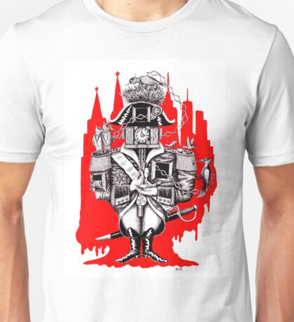 Imperial Clock surreal pen ink black white and red drawing Unisex T-Shirt