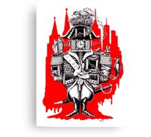 Imperial Clock surreal pen ink black white and red drawing Canvas Print