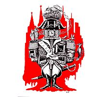 Imperial Clock surreal pen ink black white and red drawing Photographic Print