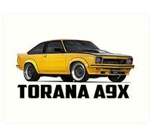 Holden Torana - A9X Hatchback - Yellow Art Print