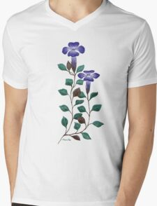 Brunoniella australis on Black by Ménelle Gale Mens V-Neck T-Shirt