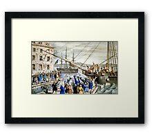 Destruction of tea at Boston Harbor - 1846 - Currier & Ives Framed Print