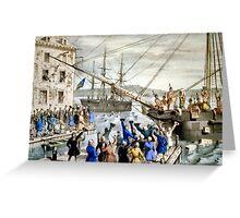 Destruction of tea at Boston Harbor - 1846 - Currier & Ives Greeting Card