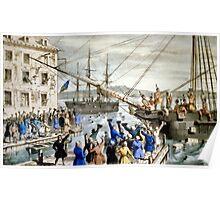Destruction of tea at Boston Harbor - 1846 - Currier & Ives Poster