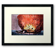 Destruction of the rebel monster Merrimac off Craney Island - 1862 - Currier & Ives Framed Print
