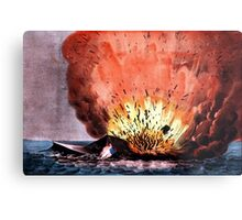 Destruction of the rebel monster Merrimac off Craney Island - 1862 - Currier & Ives Metal Print