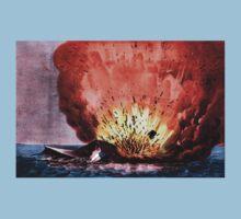 Destruction of the rebel monster Merrimac off Craney Island - 1862 - Currier & Ives Kids Tee