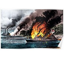 Destruction of the rebel ram Arkansas - 1862 - Currier & Ives Poster