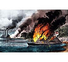 Destruction of the rebel ram Arkansas - 1862 - Currier & Ives Photographic Print