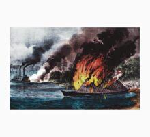 Destruction of the rebel ram Arkansas - 1862 - Currier & Ives Kids Tee