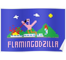 Flamingodzilla Pixel Poster