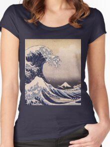 Katsushika Hokusai - The Great Wave Off the Coast of Kanagawa 19th century . Japanese Seascape Women's Fitted Scoop T-Shirt